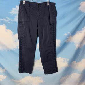 Sonoma- Elastic Waist Navy Blue Cropped Pants 12